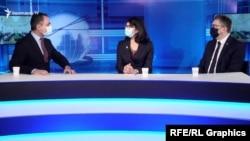 Ֆրանսիայի ԱԺ պատգամավորներ Դանիել Ղազարյանը (կ) և Ժան-Միշել Միսը (ա) «Ազատության» տաղավարում։