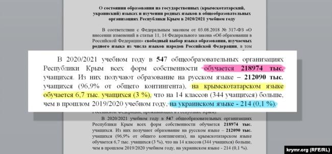 Документ «О состоянии образования... в общеобразовательных организациях Республики Крым в 2020/2021 учебном году»