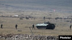 Armenia -- Armenian soldiers and armored vehicle participate in Russian-Armenian military exercises at the Alagyaz firing range, Seotember 24, 2020.