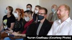 Падчас суду аб ліквідацыі аб'яднаньня «Талака» ў Гомлі. 15 верасьня 2021 г.
