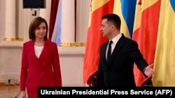 UKRAINE -- Ukrainian President Volodymyr Zelenskiy meets with his Moldovan counterpart Maia Sandu in Kyiv, January 12, 2021