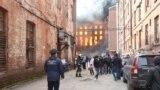 Пожар в здании Невской мануфактуры.