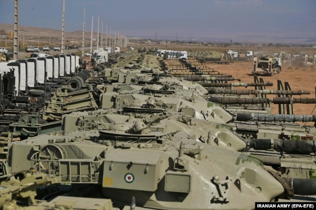 Iranian Army tanks are seen during the military exercise on October 1.