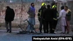 عکس از انفجار ناشی از ماین جاسازی شده در بایسکل در منطقه گذرگاه شهر کابل