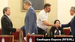 Тошко Йорданов, Мустафа Карадайъ, Филип Станев и Йордан Цонев в началото на срещата в неделя