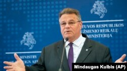 LITHUANIA -- Lithuanian Foreign Minister Linas Linkevicius answers questions during a meeting with the press in the Ministry of Foreign Affairs in Vilnius, August 11, 2020