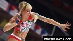 Yana Maksimava competes in the women's pentathlon shot put at the 2017 European Athletics Indoor Championships in Belgrade.