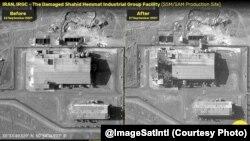 تصویری از ساختمان گروه صنعتی شهید همت؛ (سمت چپ، قبل از انفجار؛ سمت راست، بعد از انفجار). عکس از: ایمیج ست اینتل