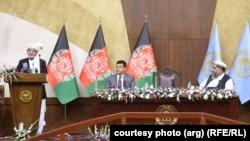 محمداشرف غنی، رئیس جمهوری افغانستان در جلسه فوقالعاده شورای ملی