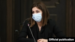 Armenia -- Health Minister Anahit Avanesian speaks during a cabinet meeting in Yerevan, March 11, 2021.