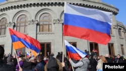 Armenia -- Members of a newly created movement seeking Armenia's closer ties with Russia rally in Yerevan, February 6, 2021.