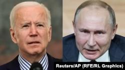Жо Байден (ч) ва Владимир Путин (ў)
