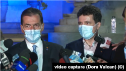 Prime Minister Ludovic Orban and Nicusor Dan, after the exit poll, September 27, 2020