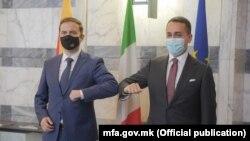 Министрите за надворешни работи на Македонија и на Италија, Бујар Османи и Луиџи ди Мајо, (Рим, 8 март 2021)