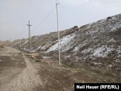 The earthen berm in Yeraskh separating Armenia from Azerbaijan's Naxcivan Province