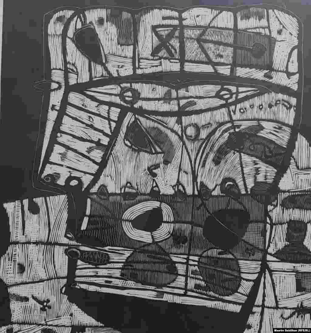 """А. Р.Терегуловдун """"Менин атым- 17""""аттуу эмгеги, Линогравюра, 2013"""