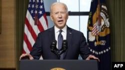 Joe Biden amerikai elnök beszédet tart 2021. április 14-én