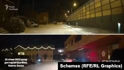 Коли 15 січня журналісти приїхали до ресторану Giardino, його парковка з дороги здавалась порожньою – та за рогом виявилося чимало запаркованих авто преміум-класу
