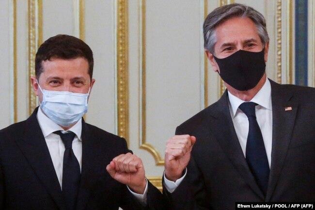 Президент Украины Владимир Зеленский и Энтони Блинкен, 6 мая 2021 года
