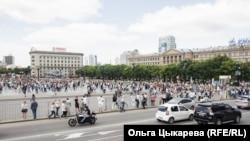 Habarowsk. Protestçiler