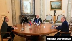 Russia -- Alexander Bortnikov, the head of Russia's Federal Security Service, hosts a meeting of his Armenian and Azerbaijani counterparts, Moscow, December 28, 2020.