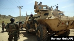 Afghan forces on an offensive operation with a Mobile Strike Force vehicle received from the United States in April 2020.