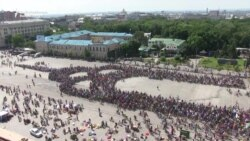 Thousands Of Cyclists Create Mobile Symbol Of Kharkiv
