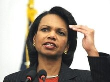 Afghanistan - US Secretary of State Condoleezza Rice at a press conference in Kabul, 07Feb2008