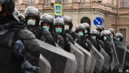 На митинге в Санкт-Петербурге, 21.04.2021