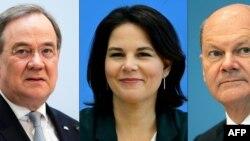 Kandidati za novog nemačkog kancelara: Armin Lašet iz demohrišćana, Analena Berbok iz Zelnih i Olaf Šolc iz Socijaldemokratske partije.