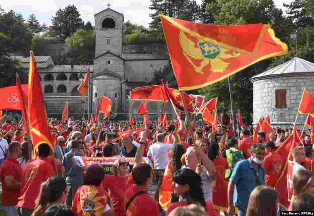 Patriotski skup ispred Cetinjskog manastira, 3. septembar 2020.
