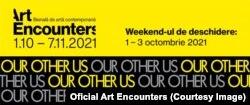 Afiș al bienalei Art Encounters la Timisoara