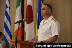 Командувач Військово-морськими силами України контрадмірал Олексій Неїжпапа на відкритті багатонаціональних навчань «Сі Бриз-2021». Одеса, 28 червня 2021 року