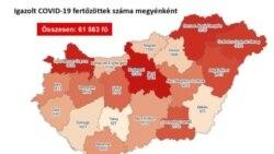 Az igazolt koronavírus-fertőzöttek száma megyei bontásban Magyarországon 2020. október 26-án, a koronavirus.gov.hu tájékoztatása alapján.