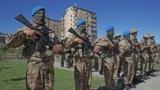 Azerbaijani servicemen take part in a parade in Susa/Shushi on September 27.