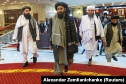 Mullah Abdul Ghani Baradar (center), the Taliban's deputy leader, at a conference in Moscow in March.