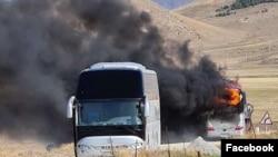 Armenia -- A passenger bus burns near the town of Vartenis after what the Armenian Defense Ministry described as an Azerbaijani air strike, September 29, 2020.