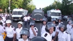 Heavy Police Presence At Armenia Protests