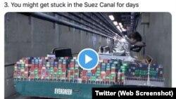 Снимка на една од неколкуте објави на Твитер од страна на руската државна компанија што ја надгледува руската флотана Арктикот. Подоцна беа симнати постовите, кои се чини дека го исмеваа товарниот брод што се заглави во Суецкиот канал.