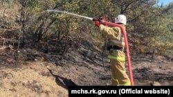 Тушение лесного пожара под Алуштой, 8 сентября 2021 года