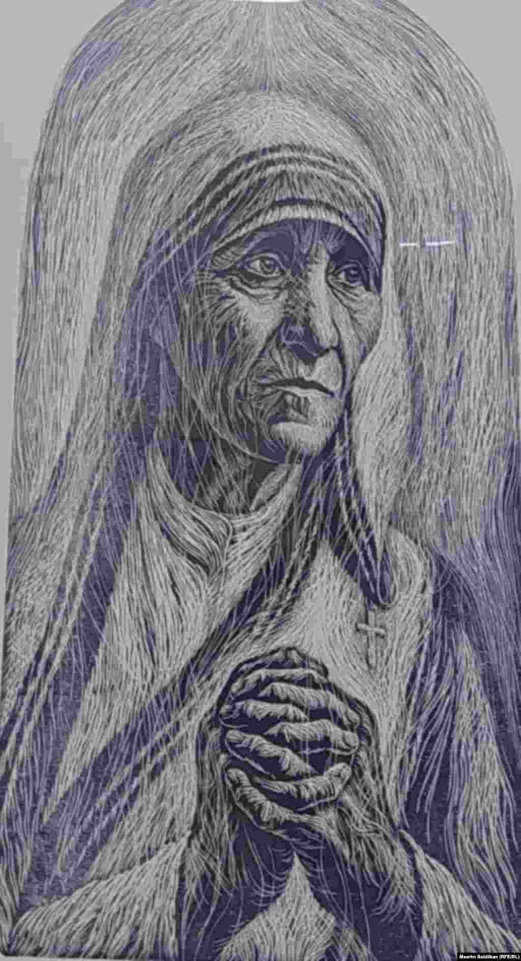 """Р.А. Сайфуллиндин """"Тереза эне"""" аттуу эмгеги Линогравюра, 2014"""