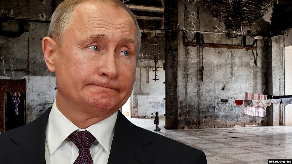Vladimir Putin men Zairdegi qañırap bos qalğan saray. Fotokollaj.