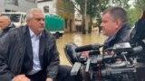 Сергей Аксенов и Сергей Бороздин инспектируют наводнение в Керчи