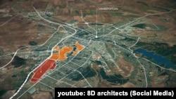 Карта Симферополя. Красным цветом обозначена территория аэропорта «Заводское»