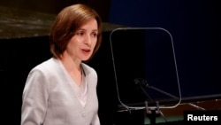 Moldovan President Maia Sandu addresses the United Nations General Assembly in New York on September 22.