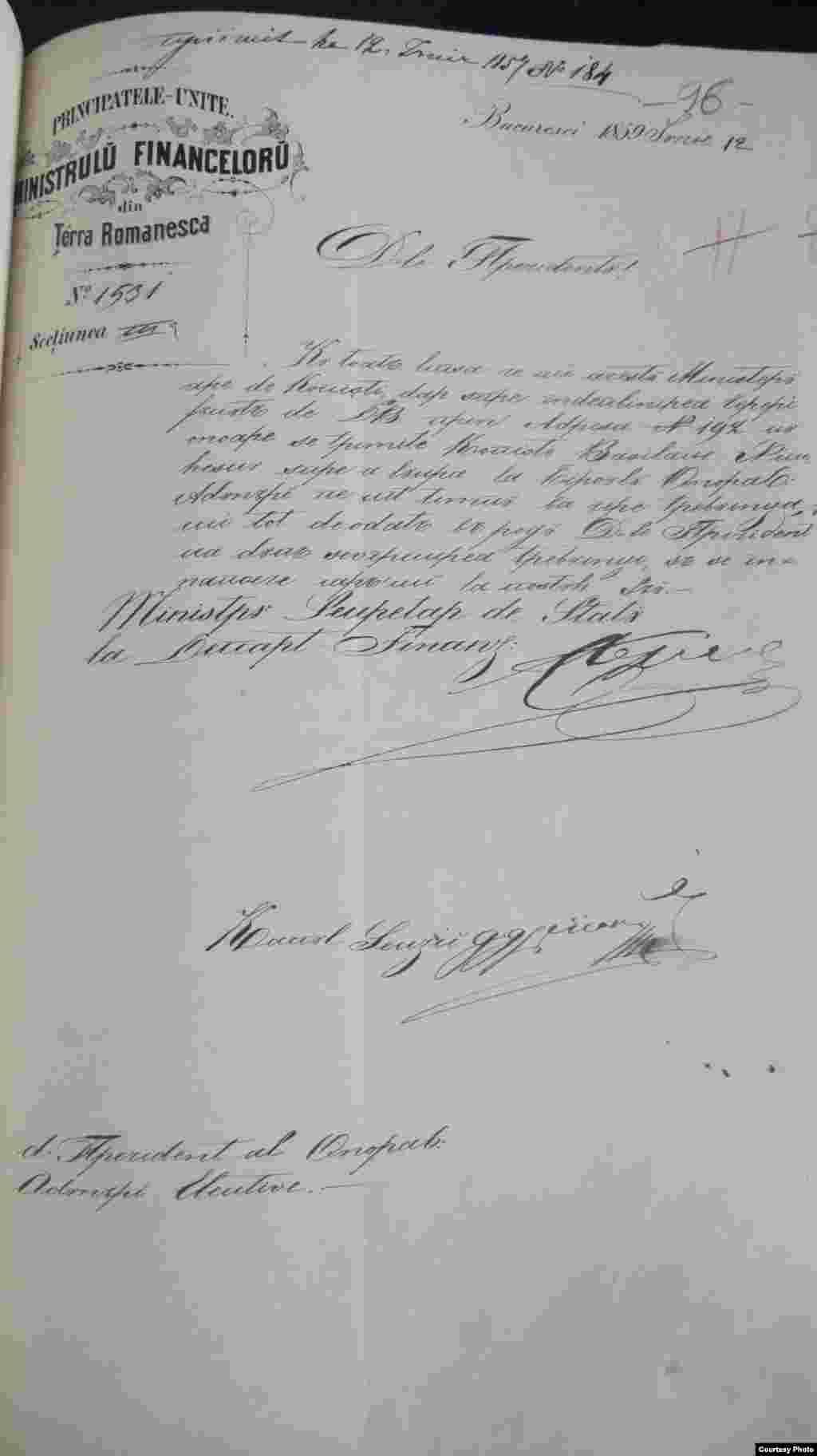 Document al Ministerului de Finanțe al Țării Românești, datând din 1859 și aflat la Arhivele Naționale. Domnitorul Alexandru Ioan Cuza va trece repede peste interdicția de folosire a termenului de Principatele Române. Numele de România va fi folosit abia în Constituția lui Carol I, din 1866.
