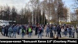 Уфадагы протест чарасында катнашучылар