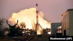 The Progress MS-16 blasts off from Russia's space facility in Kazakhstan on February 15.
