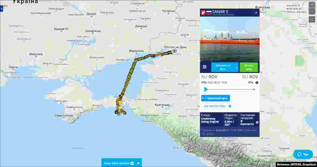 Путь танкера Sanar-5