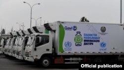 UNICEF томонидан Ўзбекистон Соғлиқни сақлаш вазирлигига топширилган махсус автомобиллар (ССВ фотоси)